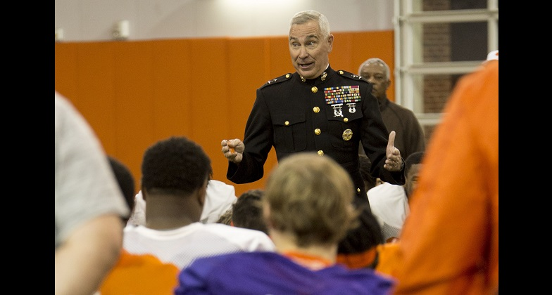 Marines Visit Clemson University Football Team